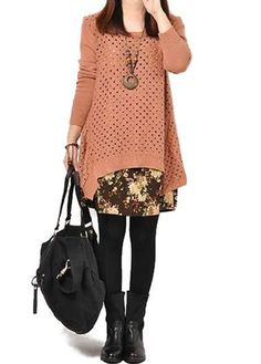 Button Design Round Neck Long Sleeve Printed Dress  on sale only US$28.74 now, buy cheap Button Design Round Neck Long Sleeve Printed Dress  at lulugal.com