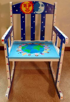 World, sun, and moon child's rocking chair