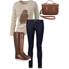 """Fun Fall Outfit"" obsessed with owls :D"