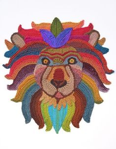 Freeform crocheted lion portrait by ann benoot inspired by zentangle drawing of power animals textile art painting cm Freeform Crochet, Crochet Motif, Irish Crochet, Crochet Edgings, Crochet Tunic, Crochet Dresses, Crochet Wall Art, Crochet Home, Crochet Applique Patterns Free