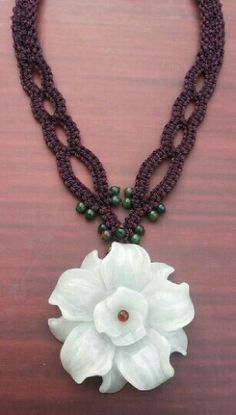 Simple purple macrame necklace with green aventurine and water jade flower pendant