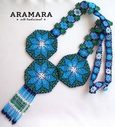 Mexican Huichol Beaded Blue and Green Star Necklace CRG-0005