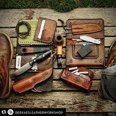 """pocketdump-patrol: """" ・・・ My friend 👋 promoted me for a 👍👍 Sorry that it took so long 😮 Now I wanna see yours –》 ☺. Edc Bag, Bushcraft Gear, Everyday Carry Gear, Kydex, Camping Photography, Cool Gear, Leather Projects, Survival Gear, Camping Survival"""