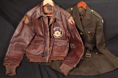This is an original CBI Jacket. This jacket contract was placed with Bronco Mfg. on May 1942 for a total of 50000 jackets. The squadron patch is of the Air Transport Squadron (Mobile). Leather Jacket Patches, Leather Flight Jacket, Leather Jackets, Canada Goose Jackets, Sportswear, Winter Jackets, Military Clothing, Military Uniforms, Outdoor Gear