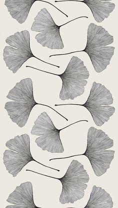 Gingko Sateen fabric designed by Kristina Isola for Marimekko / pattern / motifs / black and white / illustration Art Design, Textile Design, Fabric Design, Leaf Design, Floral Design, Pattern Art, Pattern Design, Black Pattern, Nature Pattern