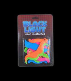 ID12652 Blacklight Reactive Neon Moustache Pieces - 24 Piece Set