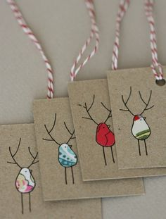 gift tags - fabric scraps turned reindeer
