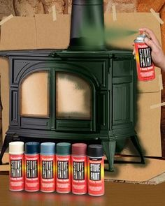 Stove Paint, a high quality, premium coating, is available in a palette of decorative colors. Thurmalox Stove Paint takes stove restoration beyond traditional black Wood Stove Hearth, Stove Fireplace, Wood Burner, Wood Stove Decor, Wood Stove Wall, Wood Stove Surround, Paint Fireplace, Coal Burning Stove, Wood Burning Stoves