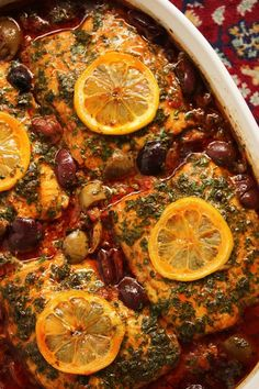 Moroccan Fish Tagine with Ginger & Saffron. Gorgeous dish. Savory and delicious. Used cod. Layered baby carrots and butternut squash at the bottom. Used canned chopped tomatoes. Omitted preserved lemons but would like to try it. Keeper. 3/27/16