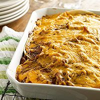 Chicken enchilada casserole from Family Circle. This is fast and easy and works well for making ahead. I've found that you don't actually need 3 cups of cheese for it - more like 2 works fine.