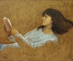 榎俊幸/作品集 (ENOKI Toshiyuki/works)● 「読書」・ 20F(2013年) パネル・キャンバス・アクリル・油彩 人は心の中に豊かな視覚世界を持っている。本を読むことは、内なるイメージを開くことだ。