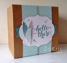 Stampin' Up ! - Extra Large Gift Box, Four Feathers, Hello There - ZoKris