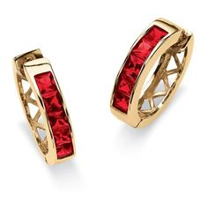 Channel-Set Birthstone 18k Gold-Plated Huggie-Hoop Earrings ($32) ❤ liked on Polyvore featuring jewelry, earrings, jewelry & watches, red, red earrings, princess cut earrings, gold plated earrings, unisex earrings and fake jewelry