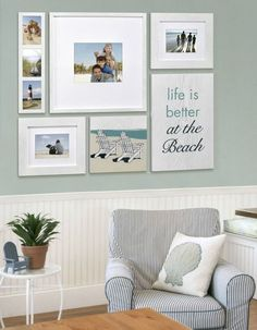 Beach Memory Gallery Wall with a Life is Better at the Beach Sign! Featured here: www.completely-co...