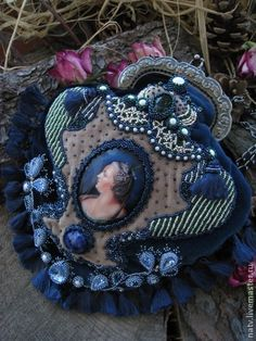 Купить Екатерина - тёмно-синий, изумрудный, хрусталь, сапфир, лаковая миниатюра, портрет, ридикюль, сумочка