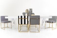 007 Dining Chair in Black and White Stripes | ModShop