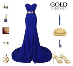 """Contest: Blue Royal & Gold Prom Outfit"" by billsacred ❤ liked on Polyvore featuring ZAC Zac Posen, Effy Jewelry, Estée Lauder, Smashbox, Oscar de la Renta, Versace and goldsandals"