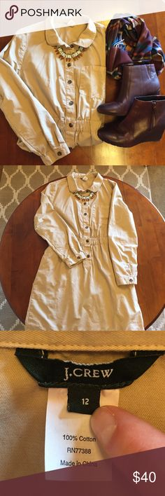 J. Crew Khaki Shirtdress Excellent condition! Full length sleeves and elastic waist definition. Tagged size 12, but I think it fits about a 10. Boots and accessories not included. J. Crew Dresses Long Sleeve