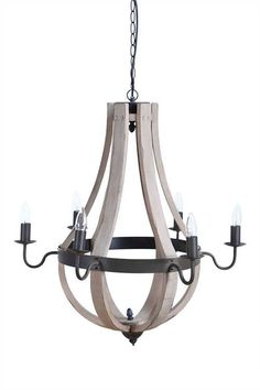 Wood and Metal Farmhouse Chandelier-Our cottage style farmhouse wood and metal chandelier will look gorgeous over a table, an entryway, a kitchen island... the options are endless!Wood