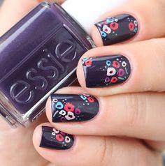 essie fall collection 2016 go go geisha kimono over eggplant violet flower nail art  inspired by Tanya Taylor floral dress
