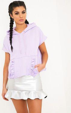Dorla ruffle pockets pastel lilac boxy hoody £10