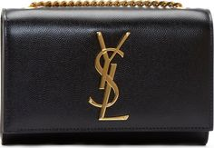 Saint Laurent: Black Leather Small Monogrammed Chain Bag | SSENSE