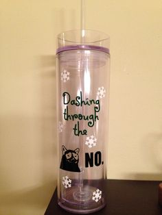 Plastic Tumbler with straw and lid: Dashing Through the NO angry/grumpy cat funny christmas gift on Etsy, $12.00