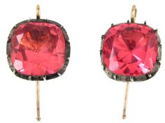 Georgian Pink Paste Earrings Georgian (1714-1830) A charming pair of paste earrings which were made circa 1800-1820. The paste is a very subtle pink. It is foiled to emphasise the colour. They are silver set with gold wires which are a later addition.
