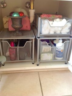 Or if the bathroom cabinet's just yours, use them to sort all of your bottles and soaps. See more of this bathroom here, and get similar drawers for $21.99 here.