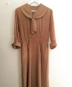 Dress geometric pattern neck sash dress #fab.#vintage#vintagefashion #1950s#ヴィンテージ #ビンテージ #ヴィンテージファッション #古着#ヴィンテージワンピース #ヴィンテージドレス#幾何学模様