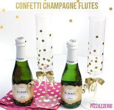 DIY confetti champagne Flutes