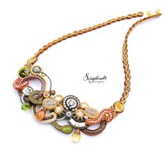 Hand embroidered soutache necklace with colours of by Sengabeads