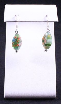 Sterling Silver & Murano Millefiori Glass Dangle or Drop Vintage Earrings by Paststore by paststore on Etsy