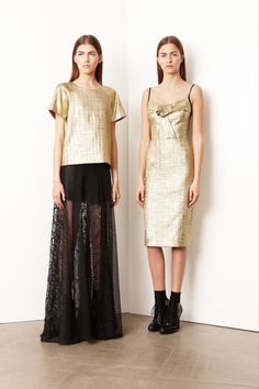 RESORT 2014 DKNY /  Flashy metallic sequins and vampy black lace are typically reserved for a night out on the town, but the new DKNY Resort collection translated those glam materials into everyday looks by incorporating them into sporty silhouettes.