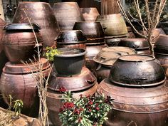 Onggi, Korean earthenware pots, were once used in the fermentation process and storage of kimchi (fermented vegetables), duengjang (fermented bean paste), and gochujang (chili pepper paste).  While some still use them for this purpose, they are also used as decorative pieces in restaurants, homes, and residential neighborhoods.