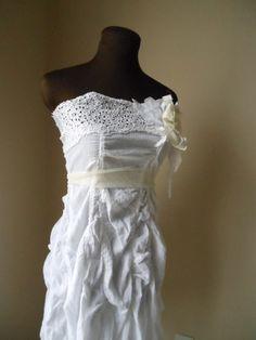 Faerie Wedding Dress Ruched Bespoke Gauze Lace Woodland Tattered Wispy Shabby Chic Rustic 60000