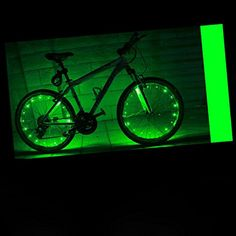 LEDMO2 packRechargeable Bicycle Bike Rim Lights Bicycle Wheel Wire Rim 20 LED Cycling Flash Light LED Green Wheel Lights Perfect for Safety and Fun color  Chargeable ** Click on the image for additional details.