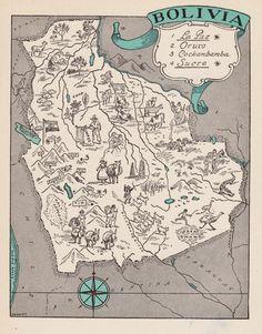 Charming BOLIVIA Map ORIGINAL - WHIMSICAL Vintage 40s Picture Map Wedding Map Plaindealing 5823