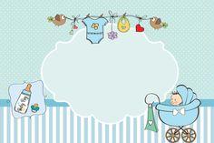 Moldura Convite e Cartão Chá de Bebê ou Chá de Fraldas: