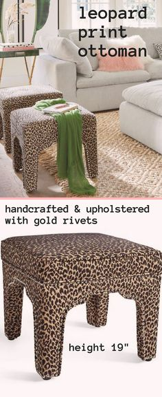 Time to swoon over this Becca leopard print Moroccan-styled ottoman! Made with a soft, textured 100% polyester fabric, with a comfy, three-inch thick attached cushion top. Even the inside of the legs has been thoughtfully upholstered in the self fabric. This would totally go in MY bedroom! #ad #cheetah #homedecor #interiors #leopardista