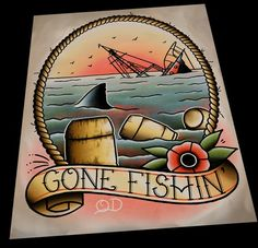 Image of Jaws Gone Fishin' Tattoo Art Print by Quyen Dinh