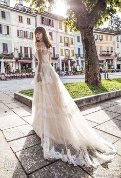 pinella passaro 2018 bridal off the shoulder long poet sleeves straight across neckline lace romantic a line wedding dress lace back chapel train (3) mv bv