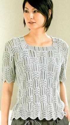 "Пуловер с вырезом ""каре"" связан спицами - Топы и майки Knitting Machine Patterns, Knitting Stiches, Arm Knitting, Crochet Woman, Crochet Lace, Finger Crochet, Summer Knitting, Lace Scarf, Lace Patterns"