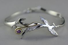 Gold and silver bird bracelet - phoenix bird bracelet - women symbolic jewelry - handmade jewelry - women bracelet - artistic jewelry Phoenix Jewelry, Phoenix Necklace, Bird Jewelry, Jade Jewelry, Women Jewelry, Jewelery, Beautiful Symbols, Matching Necklaces, Silver Bracelets