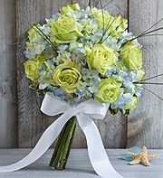 Green roses and blue hydrangea