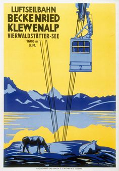 Luftseilbahn. Beckenried - Klewenalp. Vierwaldstätter-See. Wilhelm Mernsinger. 1936.