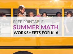 FREE Summer Math Worksheets for Kids in K–6 Fluency Games, Math Games, Kids Math Worksheets, Math Resources, Plot Activities, Summer School Programs, Geometry Vocabulary, Concentration Games, Simple Math