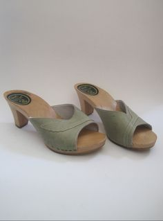 Vintage 1970s Scholl Mint Green Leather Wooden Clogs/mules from Virtual Vintage Clothing £14
