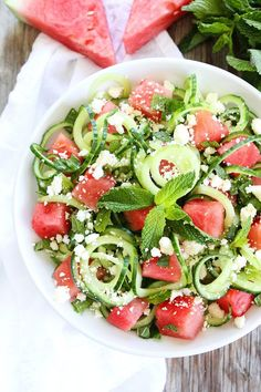 Cucumber Noodle, Watermelon, and Feta Salad-this cool and refreshing salad is a great side for any summer meal. #summertime #watermelon #salad #healthy #healthyeating #healthyrecipes