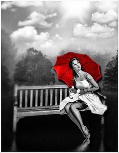'Rain on my red Umbrella' by Kym Howard - Umbrella Art, Under My Umbrella, Black And White Pictures, Black White Red, Cozy Rainy Day, Red Brolly, Splash Images, Splash Photography, Surreal Photos